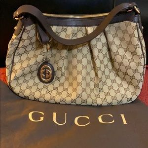 GUCCI Monogram Medium Sukey Hobo Dark Brown